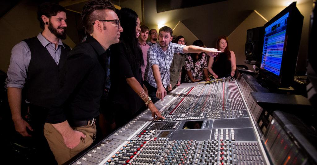 Dark Horse Institute Audio Engineering Students at Console